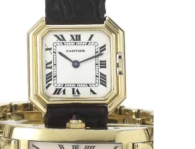 Cartier. An 18ct gold manual wind wristwatch Centiure, 1970's