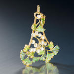 An enamel, pearl and diamond pendant  by Vever,