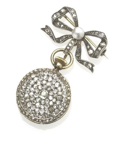 Patek Philippe. A fine and rare mid 19th century gold and diamond set fob watch with diamond and pearl set broochCase and Movement No.32703, Made in 1867 and Sold December 12th 1869