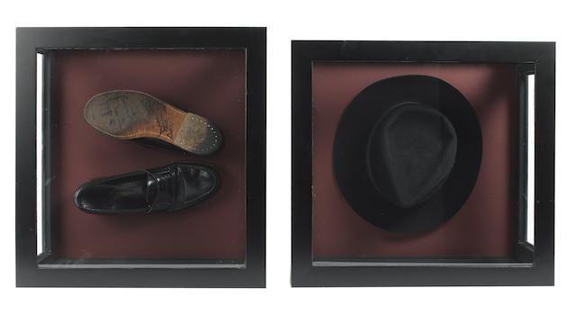 Michael Jackson's trademark hat and shoes, as worn for the TV special, 'Michael Jackson: 30th Anniversary Celebration', 2001,
