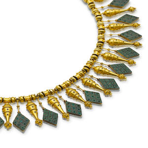 A rare gold and micromosaic necklace, by Castellani,