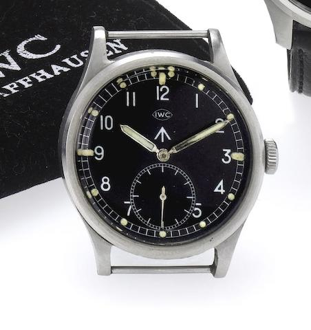 IWC. A stainless steel manual wind military wristwatch Mark X, 1940's