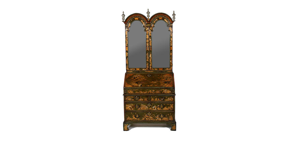 A green and red lacquer bureau bookcase