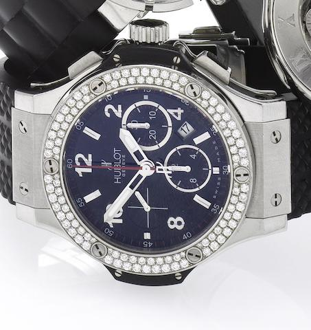 Hublot. An over sized stainless steel and diamond set automatic calendar chronograph wristwatchBig Bang, Case No.612519, Recent