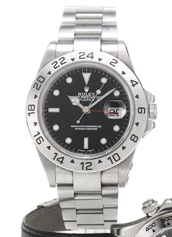 Rolex. A fine stainless steel automatic centre seconds calendar twin time zone bracelet watchExplorer II, Ref:2180, Made in 2000