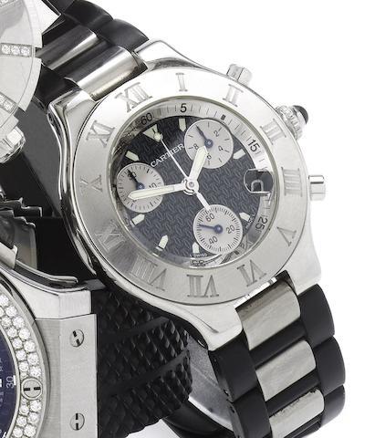 Cartier. A stainless steel chronograph calendar wristwatchChronoscaph 21, 1990's