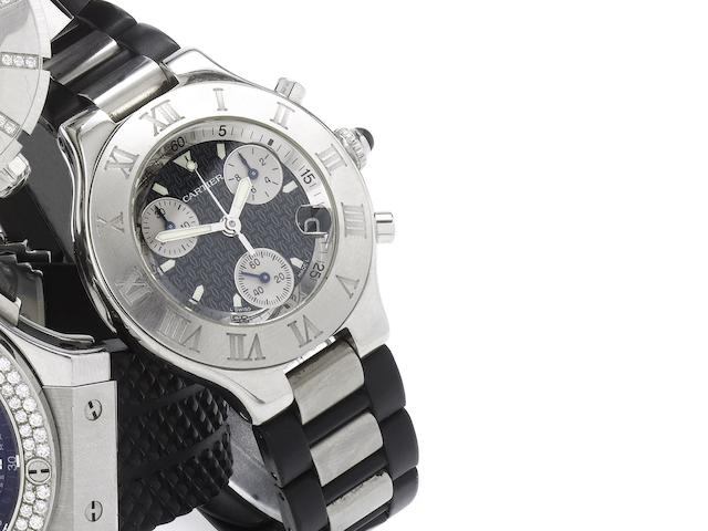 Cartier. A stainless steel chronograph calendar wristwatch Chronoscaph 21, 1990's