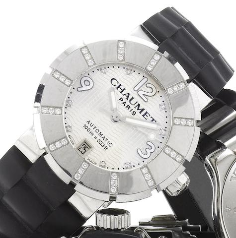 Chaumet. A lady's stainless steel diamond set automatic centre seconds calendar wristwatchRecent