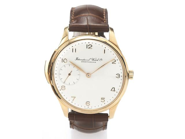 IWC. A fine and rare 18ct pink gold oversized minute repeating wristwatchPortuguese-Repetition Minutes, Ref:5240, No.99/250, Made in a limited edition of 250 examples, recent