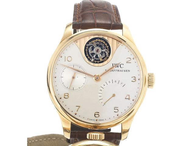 IWC. A fine and rare 18ct rose gold limited edition wristwatch with seven day power reserve and Tourbillon Portugese Tourbillon Mystere, No.115/250, Made in 2005