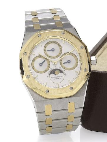 Audemars Piguet. A fine stainless steel and gold perpetual calendar bracelet watchRoyal Oak, C-49554, No.502, recent