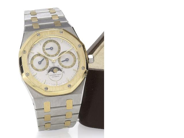 Audemars Piguet. A fine stainless steel and gold perpetual calendar bracelet watch Royal Oak, C-49554, No.502, recent