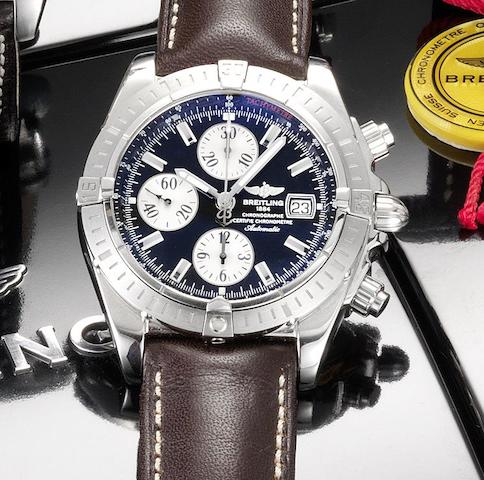 Breitling. A fine stainless steel automatic chronograph calendar wristwatch together with fitted box and papers Chronomat Evolution, Ref:A13356, Case No.2209355, Recent