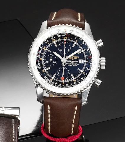 Breitling. A fine stainless steel automatic chronograph calendar twin time zone wristwatch together with fitted box and papers Navitimer World, Ref:A24322, Case No.2323057, Sold July 7th 2008