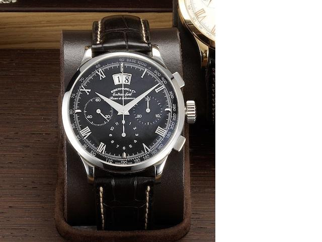 Eberhard & Co. A fine stainless steel automatic chronograph calendar wristwatch together with fitted presentation box and papers Extra-Fort, Roue a Colonnes, Grande Date, Ref:31046, Case No.0952, Sold May 17th 2005