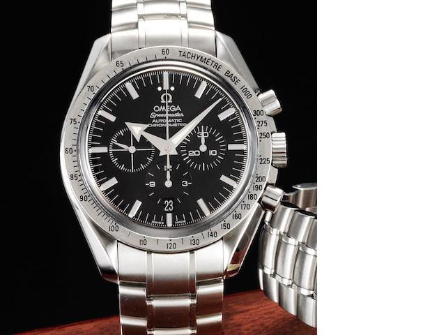 Omega. A stainless steel automatic chronograph calendar bracelet watch together with fitted box and papers Speedmaster, Broad Arrow, Ref:38515011, Case No.78013336, Sold February 17th 2005