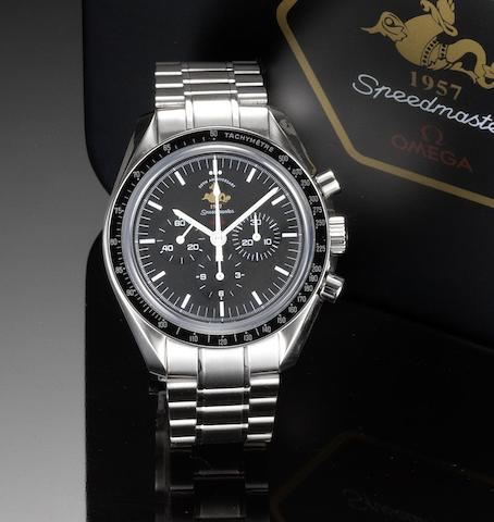 Omega. A limited edition stainless steel chronograph bracelet watch together with fitted box and papers  Speedmaster, 1957, 50th Anniversary, Case No.77183322, No.0544/5957, Sold July 4th 2007