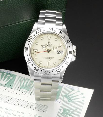 Rolex. A rare stainless steel automatic wristwatch with sweep centre seconds, date, 24 hour hand, bracelet watch with ivory-coloured dial Explorer II, Ref:16550, Circa 1987