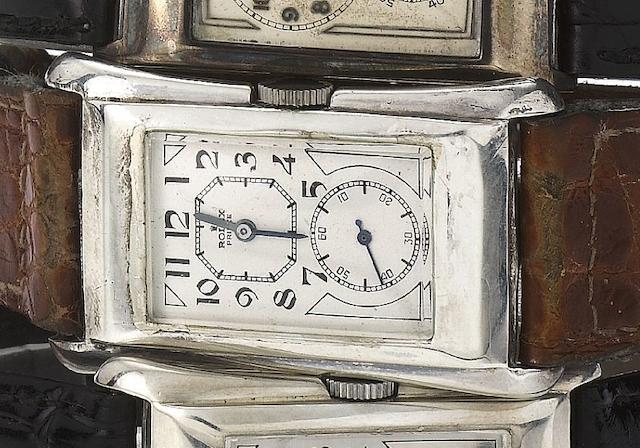 Rolex. A rare silver rectangular wristwatch with flared sides Prince, Ref:971U, Case No.02594, Movement No.74351, Glasgow Import Mark for 1930