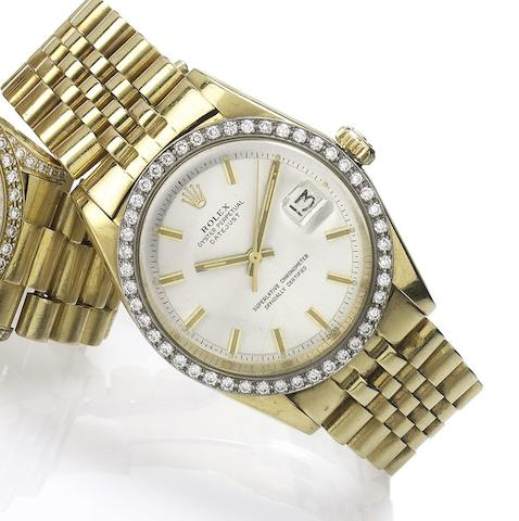 Rolex. An 18ct gold diamond set bracelet watchDatejust, Ref.1601. Serial No. 3126709, Made in 1972