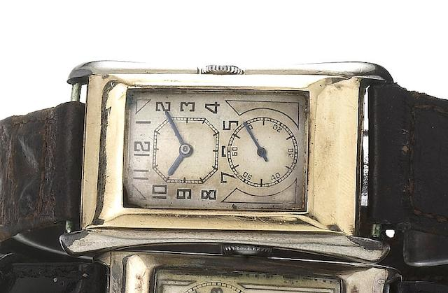 Rolex. A fine two colour 9ct gold rectangular wristwatch with flared sides Ref:971U, Glasgow Import Mark for 1930