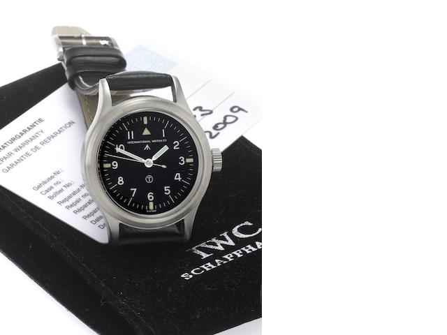 IWC. A fine stainless steel military issue centre seconds wristwatch Mark VI, Case No.570/52, Issued in 1952