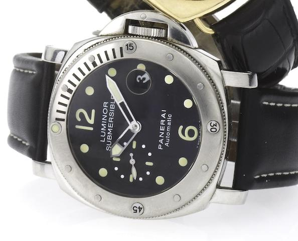 Officine Panerai. A rare large cushion shaped automatic stainless steel divers wristwatchLuminor Submersible, PAM 243, Sold 25th May 2001