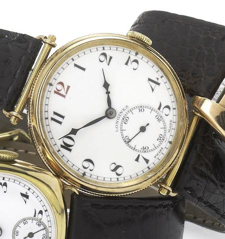 Longines. A fine 9ct gold enamel dial hinged lug wristwatch with Longines box London Import Mark for 1914