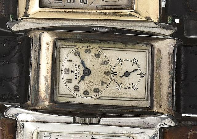 Rolex. A fine and rare silver rectangular wristwatch Prince, Ref: 1343, Glasgow Import Mark for 1930