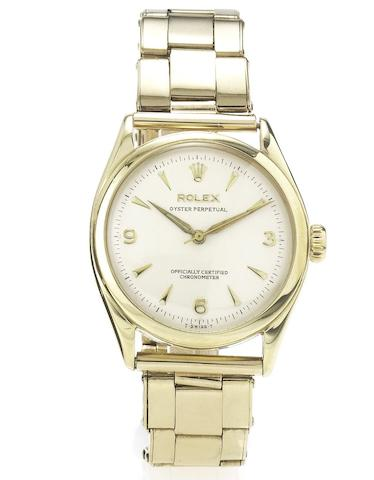 Rolex. A fine 9ct gold centre seconds automatic wristwatch with 9ct gold Rolex Oyster braceletRef: 6084, Glasgow Import Mark for 1952