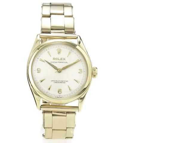 Rolex. A fine 9ct gold centre seconds automatic wristwatch with 9ct gold Rolex Oyster bracelet Ref: 6084, Glasgow Import Mark for 1952