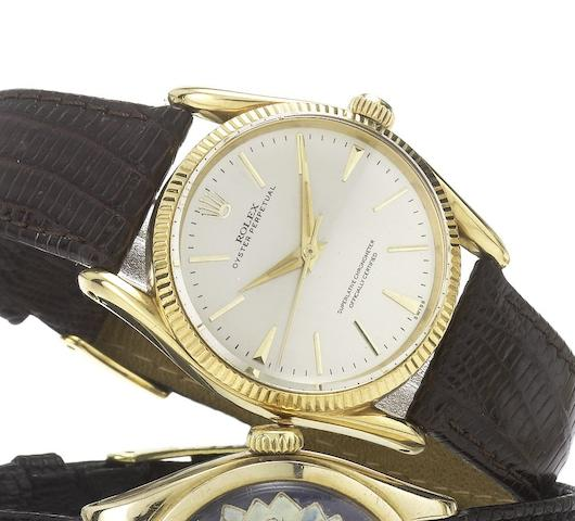 Rolex. An 18ct gold automatic centre seconds wristwatchBombe, Ref:1011, Case No.576141, Circa 1958