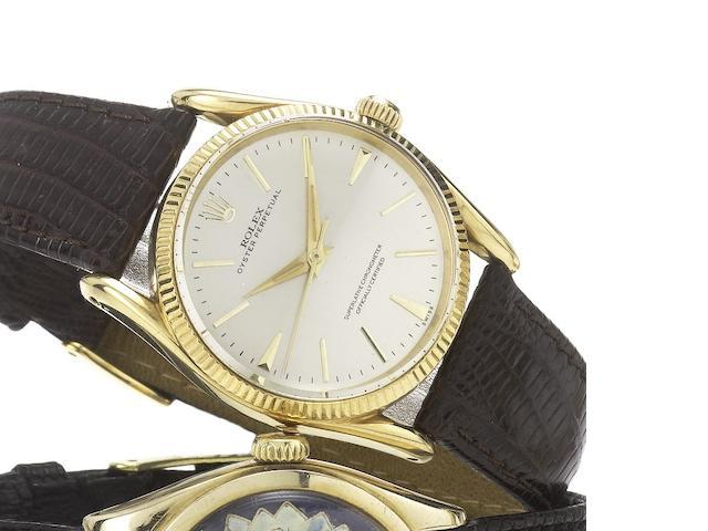 Rolex. An 18ct gold automatic centre seconds wristwatch Bombe, Ref:1011, Case No.576141, Circa 1958