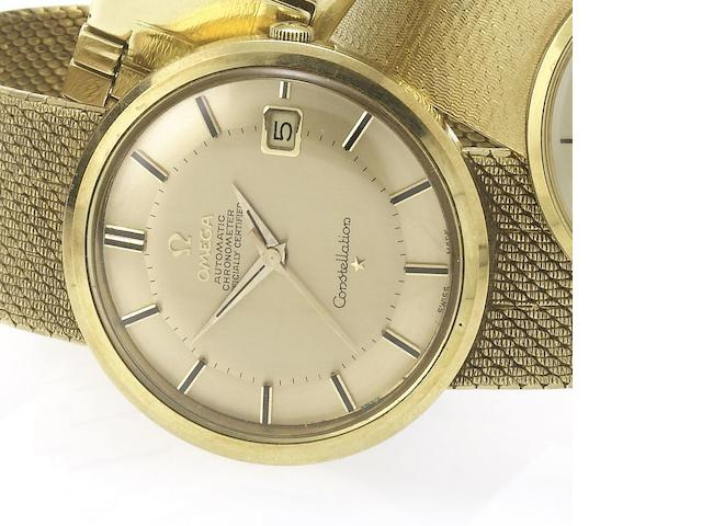Omega. An 18ct gold automatic centre seconds calendar bracelet watch together with fitted box, guarantee papers and original bill of sale Constellation, Birmingham Hallmark for 1964, Sold May 3rd 1966
