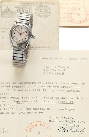 Rolex. A stainless steel wristwatch with rare Prisoner of War provenance including a letter signed from the Rolex founder Hans Wilsdorf Case No.139041, circa 1943