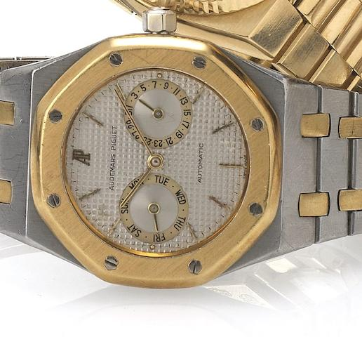 Audemars Piguet. A stainless steel and gold automatic calendar bracelet watch Royal Oak, No.300, 1980's
