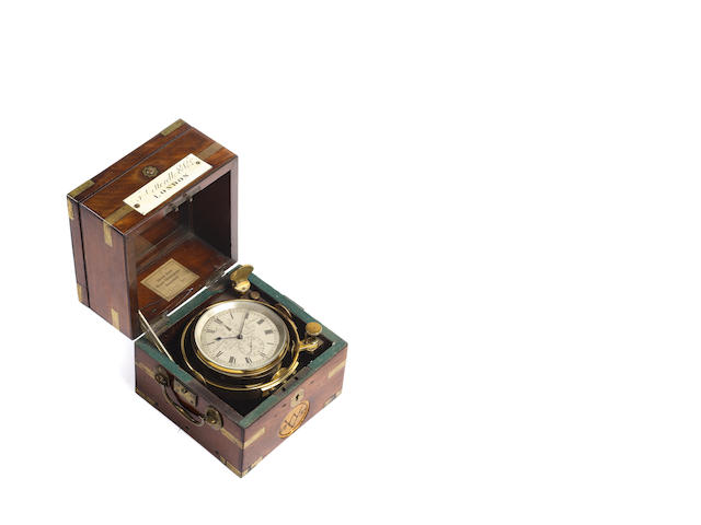 A good mid 19th century two day brass-bound mahogany marine chronometer with interesting Naval provenance  T. Cotterell & Co, London, eleve de Parkinson & Frodsham, Change Alley, 828/2156, circa 1840