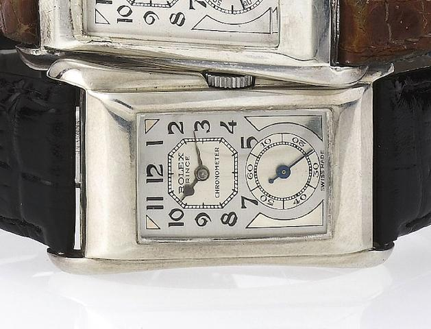 Rolex. A fine and rare silver rectangular wristwatch with flared sides Prince, Ref:971U, Movement No.72488, Case No.0977, Glasgow Import mark for 1930