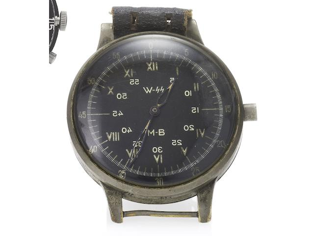 A. Lange & Söhne. A very rare and large aviator's wristwatch with sweep centre seconds, hack feature and black dial Signed A. Lange & Söhne, No.215652, circa 1940