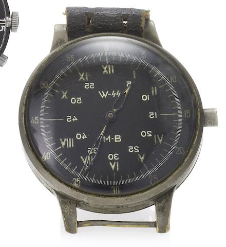 A. Lange & Söhne. A very rare and large aviator's wristwatch with sweep centre seconds, hack feature and black dialSigned A. Lange & Söhne, No.215652, circa 1940