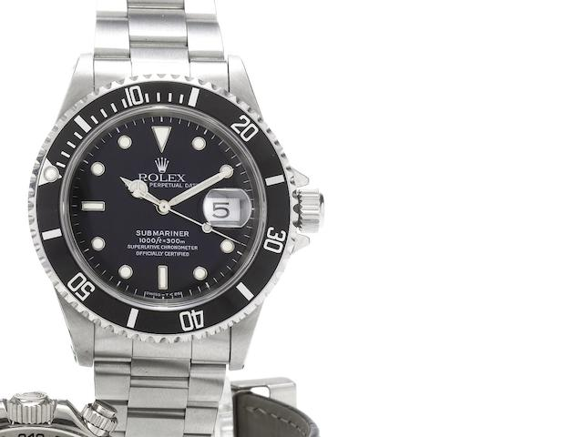 Rolex. A fine stainless steel automatic centre seconds calendar bracelet watch together with fitted box and papers Submariner, Date, Ref:16610, Made in 1997, Sold June 6th 1998