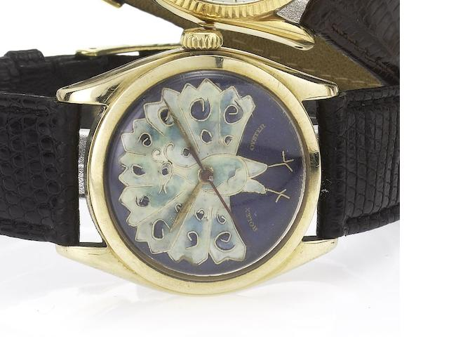 Rolex. A 14ct gold wristwatch with later cloisonné enamel Peacock dial Ref:6084, 1950's