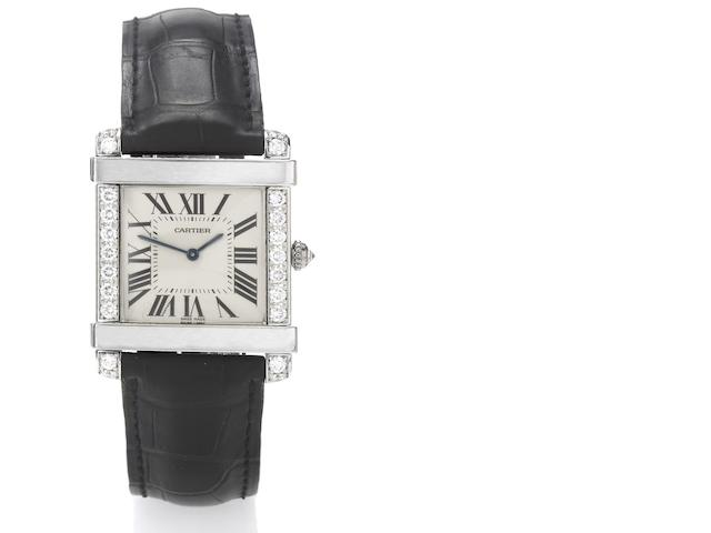 Cartier. A fine and rare platinum and diamond set wristwatch Tank Chinoise, Circa 2007