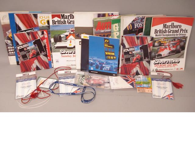 A lot of British Grand Prix Programmes and Passes