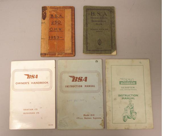 Five assorted BSA motor-cycle handbooks,