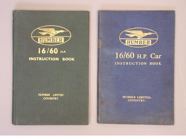 Two Humber 16/60hp Instruction books,