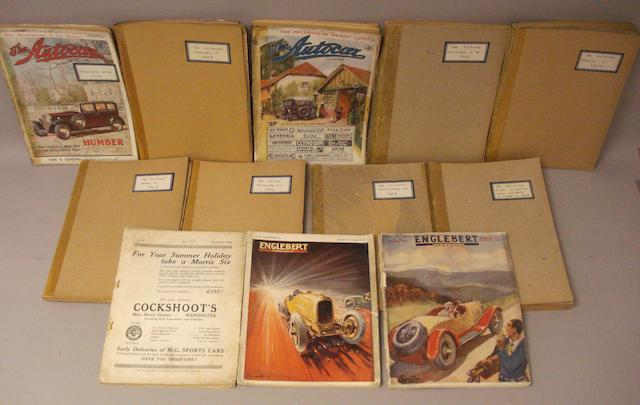 Ten pre-war issues of The Autocar and Motor magazine,