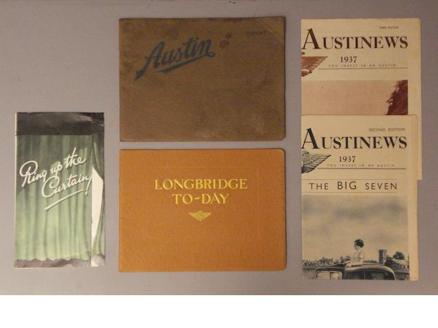 Pre-War Austin sales brochures and ephemera,