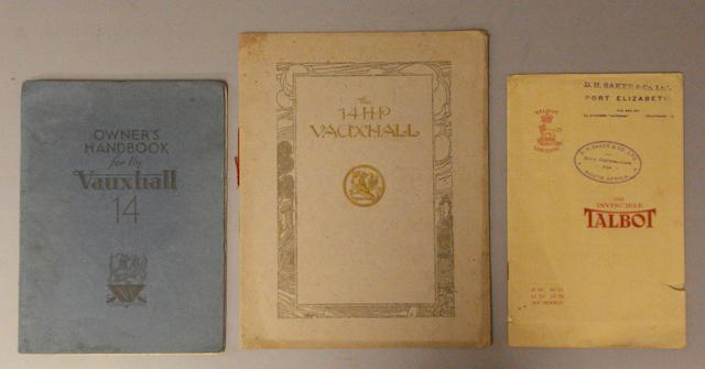 Three sales brochures for Talbot and Vauxhall cars,