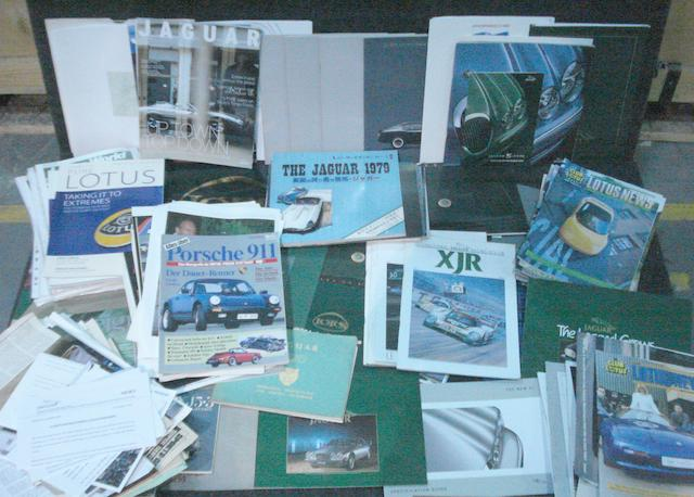 Sales literature and ephemera for Lotus, Jaguar and Porsche cars,